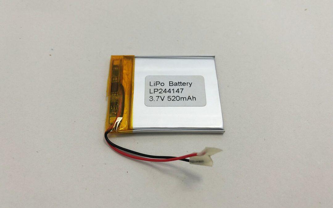Dünne Lithium Polymer Batterie LP244147 3.7V 520mAh 1.924Wh