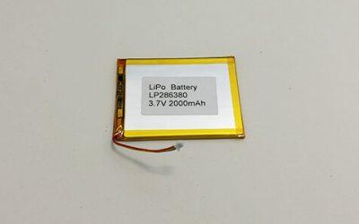 Ultradünne Li Poly Batterie LP286380 3,7 V 2000 mAh