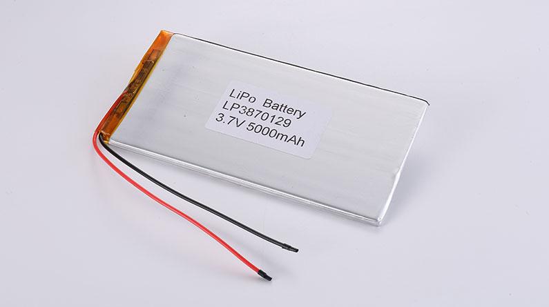 3.7V Li-Po Akku LP3870129 3.7V 5000mAh 18.5Wh mit Schutzschaltung & Drähten
