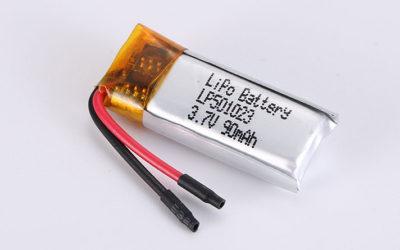 Lithium Polymer Akkus LP501023 3.7V 90mAh 0.33Wh mit Schutzschaltung & Drähten