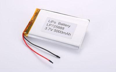 Lithium Polymer Akkus Pack LP725888 3.7V 5000mAh 18.5Wh mit Schutzschaltung & wires