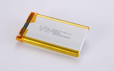 Lithium Polymer Akkus LP754068 3.7V 2500mAh 9.25Wh mit Schutzschaltung, ohne Drähte