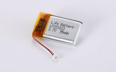 Li Polymer Akku Pack LP351623 3.7V 95mAh 0.35Wh mit Schutzschaltung & JST 02SUR-32S