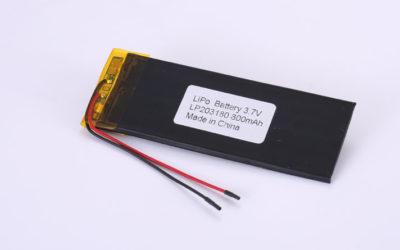 Li-Poly Akku LP203180 3.7V 800mAh 2.96Wh mit Schutzschaltung & Drähten 50mm