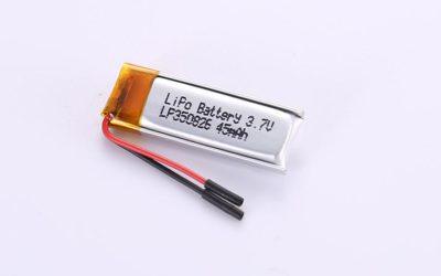 Li Poly Akku LP350826 3.7V 45mAh 0.167Wh ohne Schutzschaltung, mit Drähten 20mm