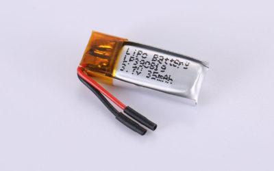Li-Polymer Akku LP390819 3.7V 35mAh 0.13Wh mit Schutzschaltung & Drähten 10mm