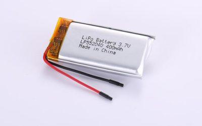 Li-Poly Akku LP552040 3.7V 400mAh 1.48Wh mit Schutzschaltung & Drähten 30mm