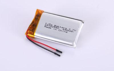Lithium Polymer Akku LP702540 3.7V 650mAh 2.41Wh mit Schutzschaltung & Drähten 30mm