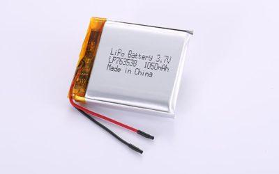 Lithium-Polymer-Akku LP763538 3.7V 1050mAh 3.89Wh mit Schutzschaltung & Drähten 30mm