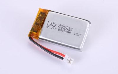Lithium Polymer Akkus LPHD7424037 3.7V 520mAh 1.93Wh mit Schutzschaltung & Drähten 30mm und JST PHR-2