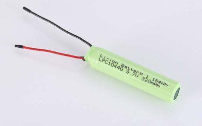 Zylindrische Lithium Polymer Akkus LPC10440 3.7V 320mAh 1.18Wh ohne Schutzschaltung, mit Drähten 40mm