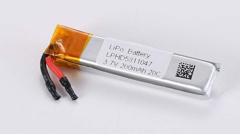 Lithium Polymer Akkus LPHD5811047 3.7V 200mAh 20C 0.74Wh ohne Schutzschaltung, mit Drähten 10mm