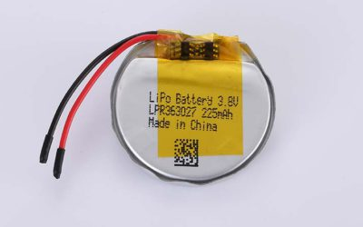 Runde Lithium Polymer Akku LPR363027 3.8V 225mAh 0.86Wh mit Schutzschaltung & Drähten 30mm