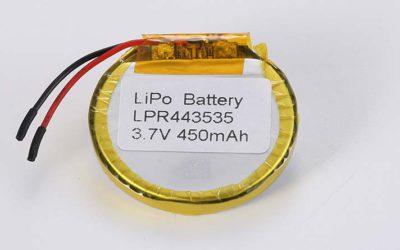 Runde Lithium Polymer Akku LPR443535 3.7V 450mAh 1.67Wh mit Schutzschaltung & Drähten 30mm