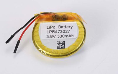 Runde Lithium Polymer Akku LPR473027 3.8V 330mAh 1.25Wh mit Schutzschaltung & Drähten 30mm