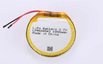 Runde Lithium Polymer Akku LPR604543 3.7V 1050mAh 3.89Wh mit Schutzschaltung & Drähten 30mm