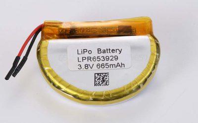Runde Lithium Polymer Akku LPR653929 3.8V 665mAh 2.53Wh mit Schutzschaltung & Drähten 30mm