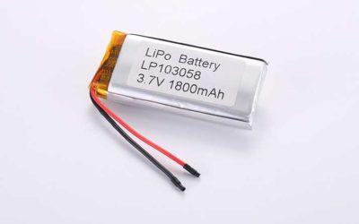 Lithium Polymer Akkus LP103058 3.7V 1800mAh 6.66Wh mit Schutzschaltung & Drähten 50mm