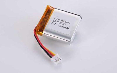 Lithium Polymer Akkus LP103333 3.7V 1300mAh 4.81Wh mit Schutzschaltung & 10K NTC & Drähten 30mm & JST PHR-3