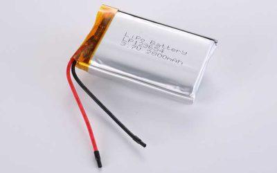Lithium Polymer Akkus LP123654 3.7V 2800mAh 10.36Wh mit Schutzschaltung & Drähten 50mm