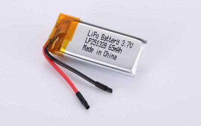 Lithium Polymer Akkus LP251328 3.7V 65mAh 0.24Wh ohne Schutzschaltung, mit Drähten 20mm