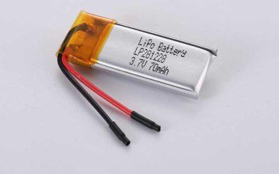 Lithium Polymer Akkus LP281228 3.7V 70mAh 0.26Wh ohne Schutzschaltung, mit Drähten 20mm