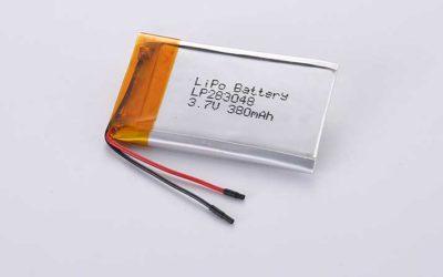 Lithium Polymer Akkus LP283048 3.7V 380mAh 1.41Wh ohne Schutzschaltung, mit Drähten 30mm