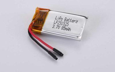 Lithium Polymer Akkus LP291525 3.7V 85mAh 0.31Wh mit Schutzschaltung & Drähten 20mm