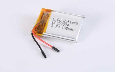 Lithium Polymer Akkus LP302024 3.7V 100mAh 0.37Wh mit Schutzschaltung & Drähten 20mm