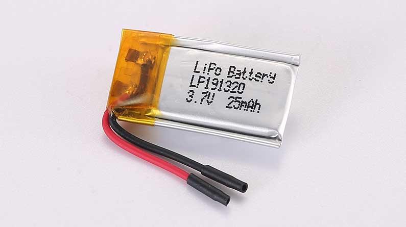 Lithium Polymer Akkus LP191320 3.7V 25mAh 0.09Wh ohne Schutzschaltung, mit Drähten 15mm