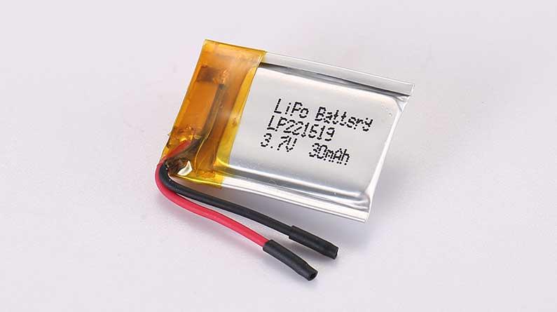 Lithium Polymer Akkus LP221619 3.7V 30mAh 0.11Wh ohne Schutzschaltung, mit Drähten 15mm