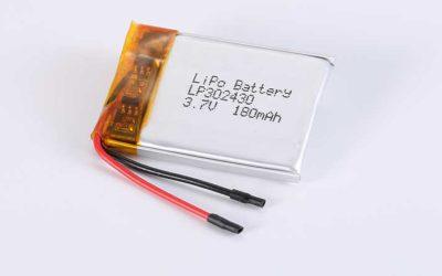 Lithium Polymer Akku LP302430 3.7V 180mAh 0.67Wh mit Schutzschaltung & Drähten 25mm