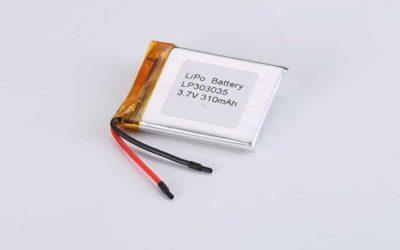 Lithium Polymer Akku LP303035 3.7V 310mAh 1.15Wh mit Schutzschaltung & Drähten 30mm