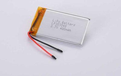 Lithium Polymer Akku LP303048 3.7V 400mAh 1.48Wh ohne Schutzschaltung, mit Drähten 30mm