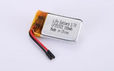 Lithium Polymer Akku LP351525 3.7V 100mAh 0.37Wh mit Schutzschaltung & Drähten 15mm