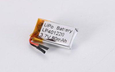 Lithium Polymer Akkus LP401220 3.7V 80mAh 0.3Wh mit Schutzschaltung & Drähten 5mm