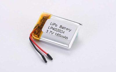 Lithium Polymer Akku LP402024 3.7V 165mAh 0.61Wh mit Schutzschaltung & Drähten 15mm