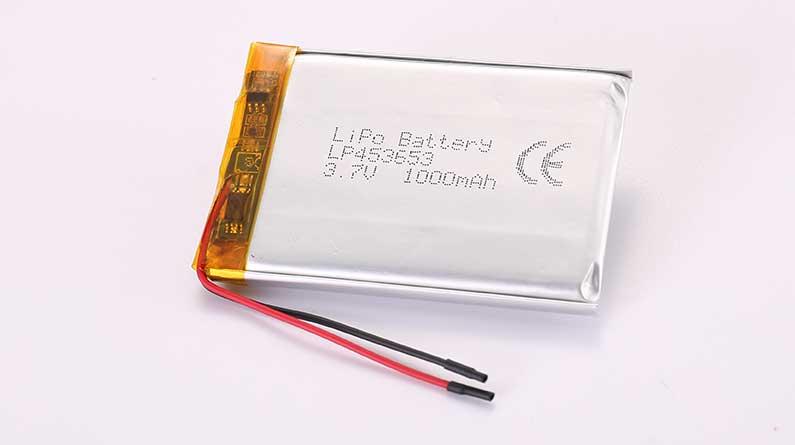 Lithium Polymer Akku LP453653 3.7V 1000mAh 3.7Wh mit Schutzschaltung und Drähten 45mm