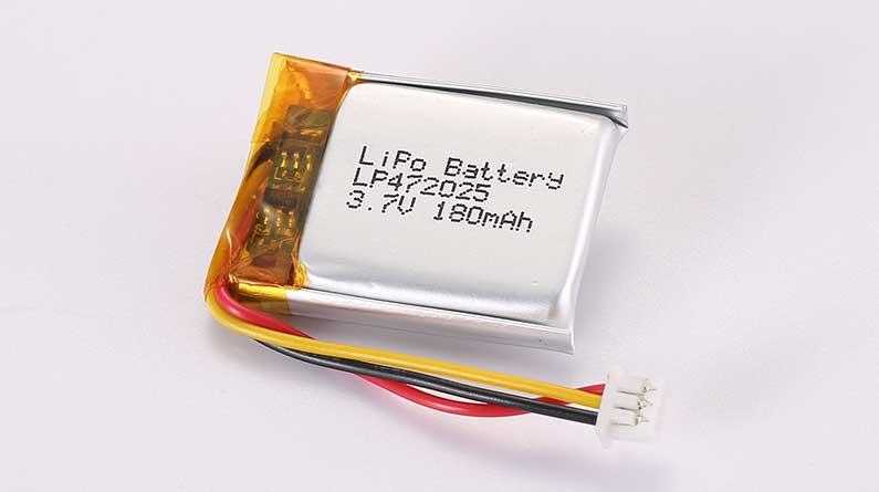 Lithium Polymer Akku LP472025 3.7V 180mAh 0.67Wh mit Schutzschaltung und Drähten 30mm und 10K NTC und Molex 51021-0300