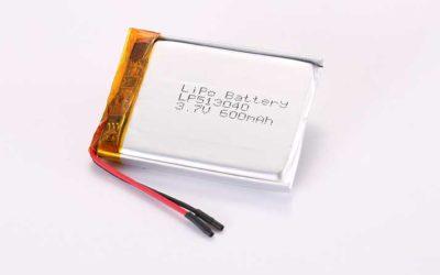 Lithium Polymer Akku LP513040 3.7V 600mAh 2.22Wh mit Schutzschaltung und Drähten 25mm