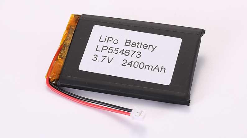 Lithium Polymer Akku LP554673 3.7V 2400mAh 8.88Wh mit Schutzschaltung und Drähten 35mm und JST PHR-2