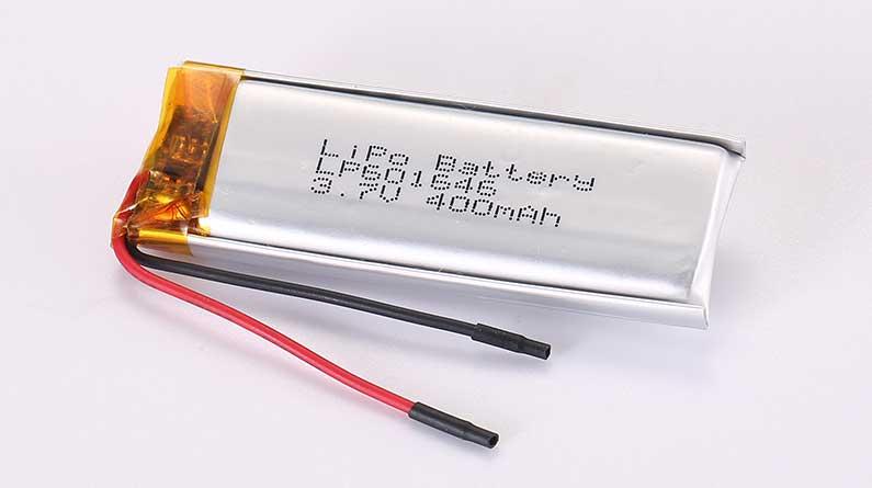 Lithium Polymer Akku LP601646 3.7V 400mAh 1.48Wh mit Schutzschaltung und Drähten 35mm