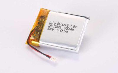 Lithium Polymer Akku LP612528 3.7V 500mAh 1.85Wh mit Schutzschaltung & Drähten 15mm und JST ACHR-02V-S