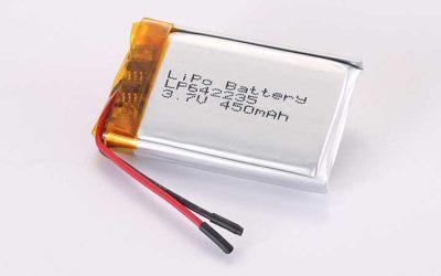 Lithium Polymer Akku LP642235 3.7V 450mAh 1.67Wh mit Schutzschaltung & Drähten 20mm