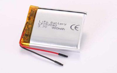 Lithium Polymer Akkus LP753040 3.7V 980mAh 3.63Wh mit Schutzschaltung & Drähten 30mm