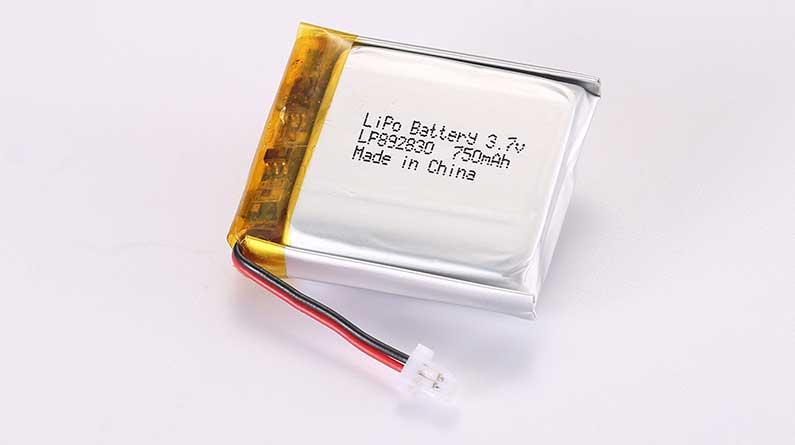 Lithium Polymer Akkus LP892830 3.7V 750mAh 2.78Wh mit Schutzschaltung & Drähten 30mm und JST SHR-02V-S-B